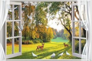 Tranh gạch phong cảnh cửa sổ