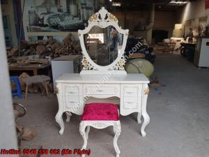 Gương bàn phấn + Ghế trang điểm tân cổ điển siêu đẹp| bộ giường ngủ châu âu