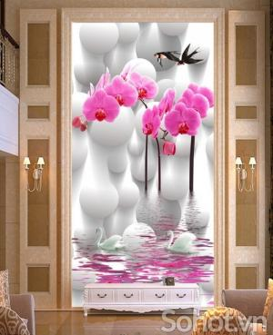 Tranh gạch hoa lan phòng khách