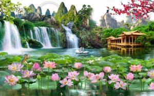 Tranh gạch hoa sen thác nước