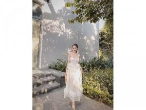 Đầm váy nữ maxi 2 dây bèo tầng có 4 màu