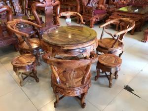 Bộ bàn ghế móc thúng gỗ cẩm lai hàng tuyển chọn VIP