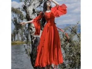 Đầm váy nữ maxi đỏ xòe tay loe nơ bèo