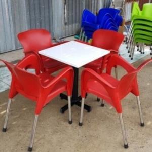 Bộ bàn ghế cafe nhựa inox giá rẻ