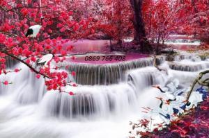 Tranh gạch 3D phong cảnh suối nước