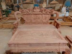 Bộ bàn ghế chạm nghê đỉnh cột 12 SIÊU VIP gỗ hương đá