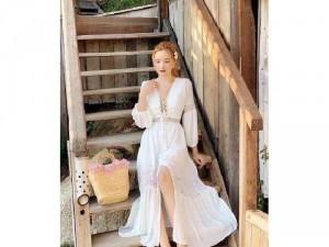 Đầm váy nữ maxi trắng phối ren đan ngực