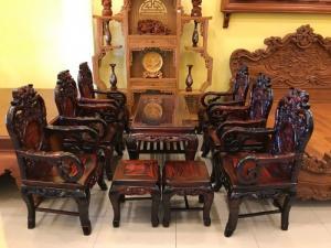 Bộ bàn ghế gỗ trắc đỏ Lào VIP chạm nho trúc