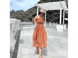 Đầm váy nữ xòe 2 dây nhún ngực eo nơ SC