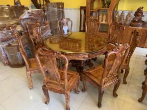 Bộ bàn ăn gỗ xịn 8 ghế bàn tròn sơn ta siêu VIP