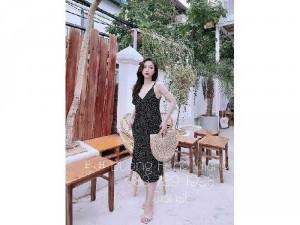 Đầm váy nữ 2 dây suông đen chấm bi SC