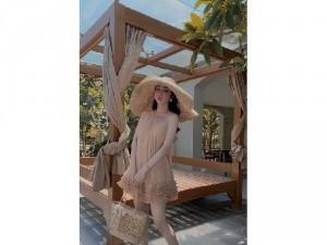 Đầm váy nữ voan nhún bèo2dây xòe tầng SC