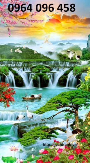 Tranh gạch 3d thác nước khổ dọc - 45vb