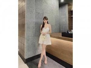Đầm váy nữ trắng xòe 2 dây ren nơ SC