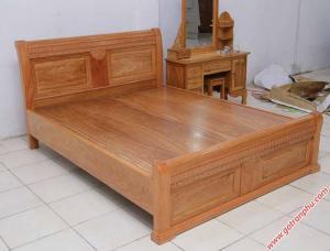 Giường ngủ gỗ gõ đỏ Campuchia dát phản liền tấm (1m6 – 1m8*2m)