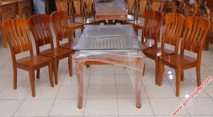 Bộ bàn ăn gỗ sồi miền Nam kính 2 tầng 6 ghế
