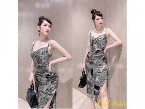 Đầm váy nữ body 2 dây rút xẻ tà 2 màu SC