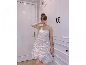 Đầm váy nữ trắng 2 dây nhún xòe SC