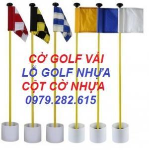 Bộ lỗ golf nhựa, cột cờ golf, lá cờ golf vải có trục nhựa