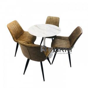 Bộ bàn ăn tròn 80 và 4 ghế có nệm cho căn hộ nhỏ TULIP LUX