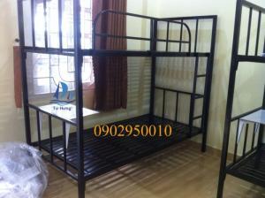 Giường tầng sắt vuông cò bàn gấp