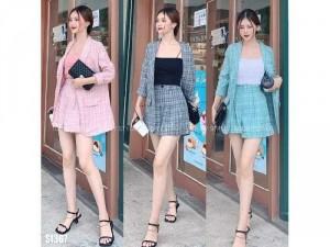 Set vest nữ 3 món áo quần dài áo dây SC