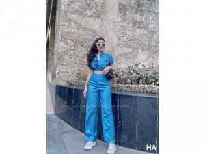 Set nữ xanh jean mềm áo sơ mi croptop SC