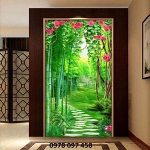 Tranh rừng tre xanh - tranh gạch