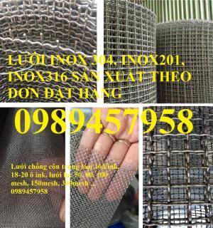 Lưới inox 304 5x5, 10x10, 20x20 khổ 1m, 1,2m, 1,5m, lưới đan inox