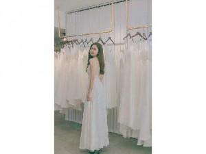 Đầm váy nữ maxi ren trắng 2 dây hở lưng