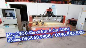 Máy CNC 6 đầu đục phẳng kết hợp đục tròn | Máy CNC 2225-6
