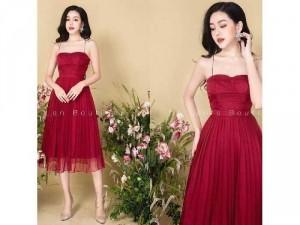 Đầm váy nữ xòe đỏ 2 dây chân dập ly
