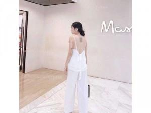 Set nữ áo trắng 2 dây hở lưng quần suông