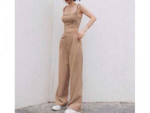 Set nữ nude áo 2 dây cột nơ quần ống rộg
