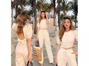 Set nữ trắng áo croptop cực chất hở lưng