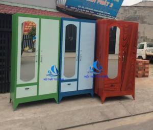 Tủ sắt sơn dầu cao 1m8 tủ treo quần áo giá rẻ