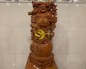 Tượng di lạc ngũ phúc đứng cành đào gỗ tự nhiên cao cấp cao 70 DL170 ????????