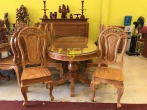 Bộ bàn ăn gỗ gõ đỏ 100% bán chạy nhất tại quận 7