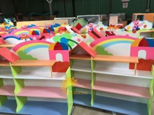 Cung cấp sỉ - lẻ kệ gỗ trẻ em cho trường mầm non, lớp mẫu giáo