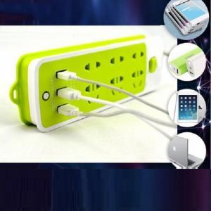 Ổ cắm điện xanh lá tích hợp 3 cổng USB tiện lợi thông dụng