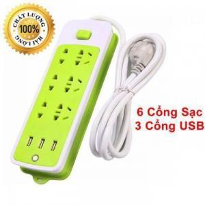Ổ cắm điện xanh lá tích hợp 3 cổng USB tiện lợi