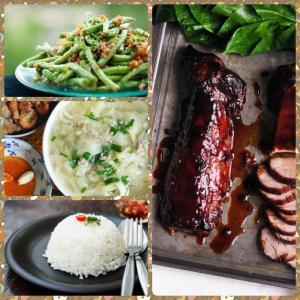 Combo : Cơm trắng, xá xíu, canh cải thảo, đậu đũa xào