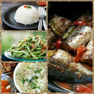 Combo : Cơm trắng, cá nục kho cà, canh cải thảo, đậu đũa xào