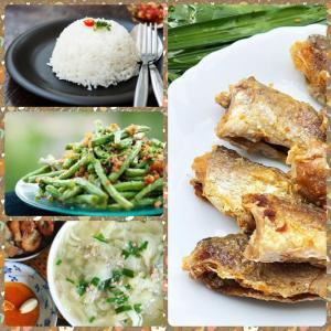 Combo : Cơm trắng, khô lù đù chiên giấm đường, canh cải thảo, đậu đũa xào