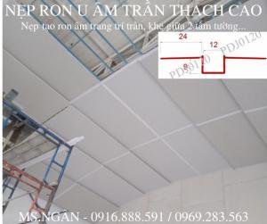 Nẹp chỉ âm trần thạch cao, nẹp tạo ron/khe phân cách giữa 2 tấm trần/cemboard.