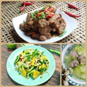 Combo : Thịt kho tiêu , Canh bắp cải, Dưa leo xào khóm