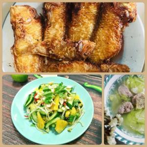 Combo : Cá mó muối chiên , Canh bắp cải, Dưa leo xào khóm