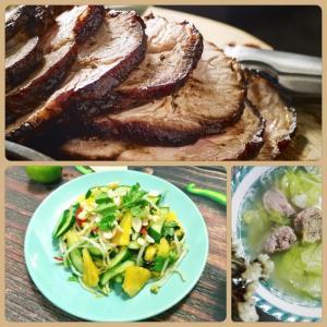 Combo : Thịt xá xíu , Canh bắp cải, Dưa leo xào khóm