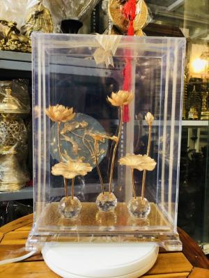 Mô hình hoa sen mạ vàng 24k,quà tặng sang trọng