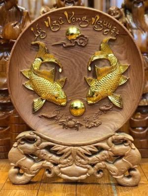 Tranh đĩa cá chép uyên ương gỗ hương đường kính 36 cm
